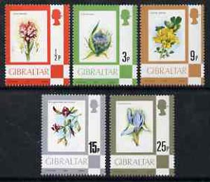 Gibraltar 1977 Flowers, the 1/2p, 3p, 9p & 25p values from def set unmounted mint, SG 374, 378, 382 & 386*