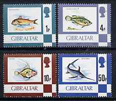 Gibraltar 1977 Fish, the 4 values from def set (1p, 4p, 10p & 50p) SG 375, 379, 383 & 387*