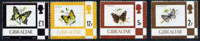 Gibraltar 1977 Butterflies, the 4 values from def set (2p, 5p, 12p & \A31) unmounted mint SG 376, 380, 384 & 388*