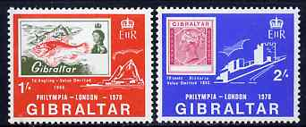 Gibraltar 1970 'Philympia 1970' Stamp Exhibition set of 2 unmounted mint, SG 252-53*