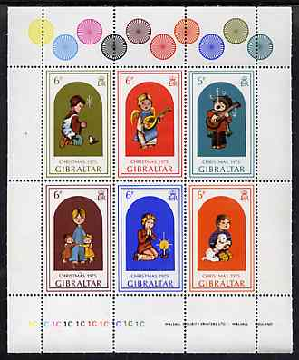 Gibraltar 1975 Christmas sheetlet containing set of 6 unmounted mint, SG 349a