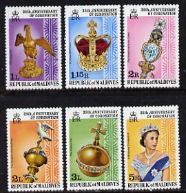 Maldive Islands 1978 Coronation 25th Anniversary perf 12 set of 6 from sheetlets (SG 755-60) unmounted mint