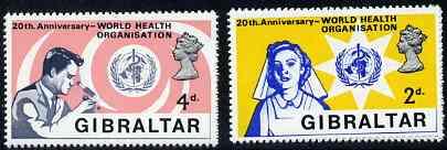 Gibraltar 1968 World Health Organisation set of 2, SG 227-28 unmounted mint*