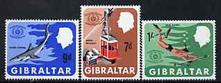 Gibraltar 1967 International Tourist Year set of 3, SG 214-16 unmounted mint*, stamps on tourism     scuba diving     fishing     cable-car