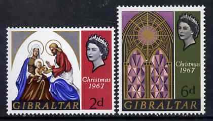 Gibraltar 1967 Christmas set of 2, SG 217-18 unmounted mint*