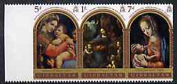 Gibraltar 1969 Christmas strip of 3 unmounted mint, SG 244a