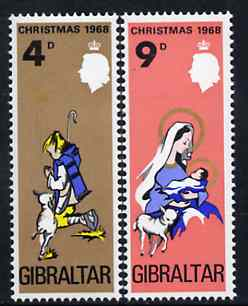 Gibraltar 1968 Christmas set of 2 unmounted mint, SG 231-22*, stamps on christmas