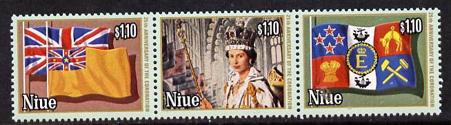 Niue 1978 Coronation 25th Anniversary set of 3 (white border) SG 245-7A unmounted mint