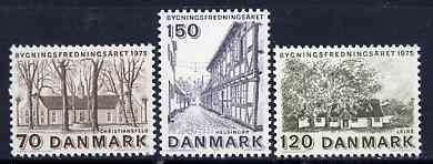 Denmark 1975 European Architectural Heritage Year set of 3 unmounted mint, SG 602-04*
