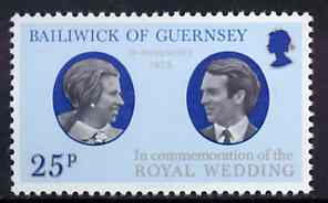 Guernsey 1973 Royal Wedding unmounted mint, SG 93