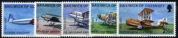 Guernsey 1973 50th Anniversary of Air Service set of 5, SG 84-88 unmounted mint*
