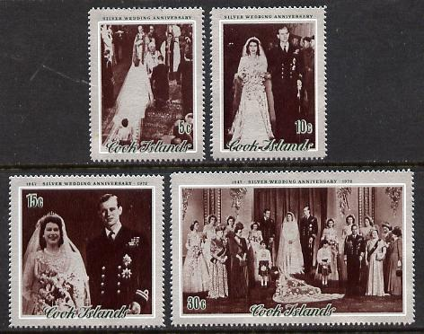 Cook Islands 1972 Silver Wedding set of 4 unmounted mint, SG 413-6, stamps on royalty, stamps on silver wedding