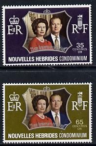 New Hebrides - French 1972 Silver Wedding set of 2 (SG F187-8) unmounted mint