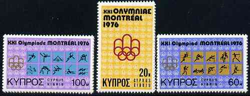 Cyprus 1976 Montreal Olympics set of 3 unmounted mint, SG 471-73*