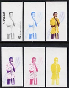 St Vincent 1985 Musical Instruments $1 (Ba-ha Bamboo Pipe) set of 6 imperf progressive proofs comprising the 4 individual colours plus 2 & 3 colour composites (as SG 907)