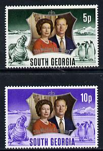 Falkland Islands Dependencies - South Georgia 1972 Silver Wedding set of 2 unmounted mint, SG 36-7