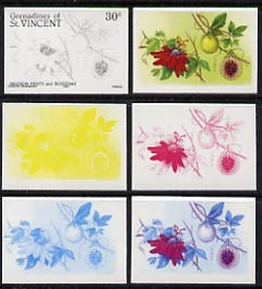 St Vincent - Grenadines 1985 Fruits & Blossoms 30c (Passion Fruit) set of 6 imperf progressive proofs comprising the 4 individual colours plus 2 & 3 colour composites (as SG 398) unmounted mint