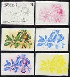 St Vincent - Grenadines 1985 Fruits & Blossoms $1 (Sapodilla) set of 6 imperf progressive proofs comprising the 4 individual colours plus 2 & 3 colour composites (as SG 400) unmounted mint