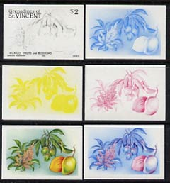 St Vincent - Grenadines 1985 Fruits & Blossoms $2 (Mango) set of 6 imperf progressive proofs comprising the 4 individual colours plus 2 & 3 colour composites (as SG 401) unmounted mint