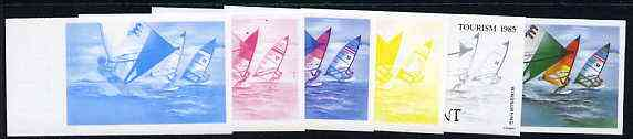 St Vincent - Grenadines 1985 Tourism Watersports 35c (Windsurfing) set of 6 imperf progressive proofs comprising the 4 individual colours plus 2 & 3 colour composites (as SG 386) unmounted mint