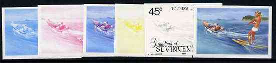 St Vincent - Grenadines 1985 Tourism Watersports 45c (Water Skiing) set of 6 imperf progressive proofs comprising the 4 individual colours plus 2 & 3 colour composites (as SG 387) unmounted mint