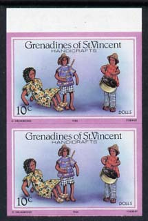 St Vincent - Grenadines 1986 Handicrafts 10c (Hand-made Dolls) imperf pair (SG 464var) unmounted mint