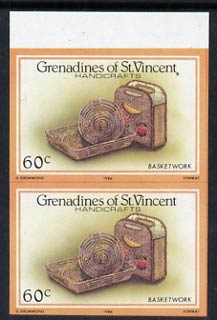 St Vincent - Grenadines 1986 Handicrafts 60c (Basketwork) imperf pair (SG 465var) unmounted mint