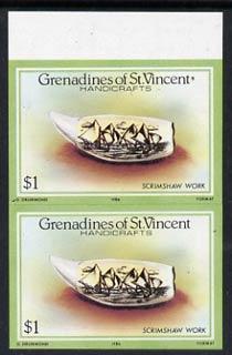 St Vincent - Grenadines 1986 Handicrafts $1 (Scrimshaw work) imperf pair (SG 465var) unmounted mint