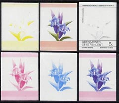 St Vincent - Grenadines 1985 Flowers (Leaders of the World) 5c the set of 6 imperf progressive proofs in se-tenant pairs comprising the 4 individual colours plus 2 and 3-colour composites (as SG 370a) unmounted mint