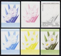St Vincent - Grenadines 1985 Flowers (Leaders of the World) 55c the set of 6 imperf progressive proofs in se-tenant pairs comprising the 4 individual colours plus 2 and 3-colour composites (as SG 372a) unmounted mint