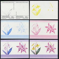 St Vincent - Grenadines 1985 Flowers (Leaders of the World) 60c the set of 6 imperf progressive proofs in se-tenant pairs comprising the 4 individual colours plus 2 and 3-colour composites (as SG 374a) unmounted mint, stamps on flowers     orchids