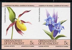 St Vincent - Grenadines 1985 Flowers (Leaders of the World) 5c unmounted mint imperf se-tenant pair (SG 370a var)