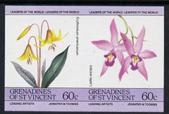 St Vincent - Grenadines 1985 Flowers (Leaders of the World) 60c unmounted mint imperf se-tenant pair (SG 374a var)