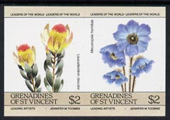 St Vincent - Grenadines 1985 Flowers (Leaders of the World) $2 unmounted mint imperf se-tenant pair (SG 376a var)