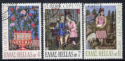Greece 1975 Europa (Paintings) set of 3 superb cto used, SG 1300-02*