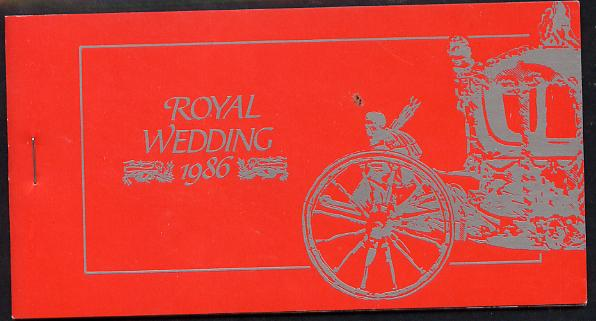 Booklet - Tuvalu 1986 Royal Wedding (Andrew & Fergie) $6.40 booklet (SG SB6) State Coach in silver, panes imperf