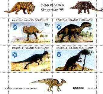 Easdale 1995 'Singapore 95' Stamp Exhibition (Dinosaurs #1 - Jurassic Period) perf sheetlet containing set of 4 rejected by printer due to over-inking (blue) unmounted mint