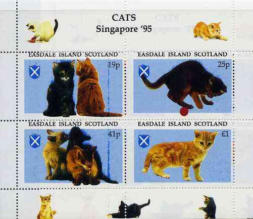 Easdale 1995 'Singapore 95' Stamp Exhibition (Cats) sheetlet containing perf set of 4 rejected by printer due to over-inking (blue) unmounted mint