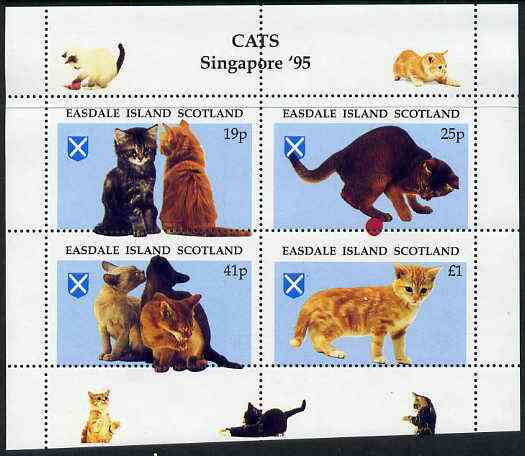 Easdale 1995 'Singapore 95' Stamp Exhibition (Cats) sheetlet containing perf set of 4 with perforations misplaced unmounted mint