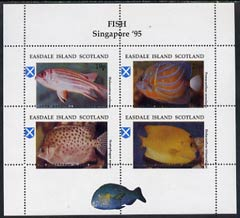 Easdale 1995 'Singapore 95' Stamp Exhibition (Fish) sheetlet containing perf set of 4 with perforations misplaced unmounted mint