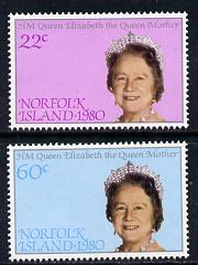 Norfolk Island 1980 Queen Mother 80th B'day set of 2 unmounted mint, SG 252-3