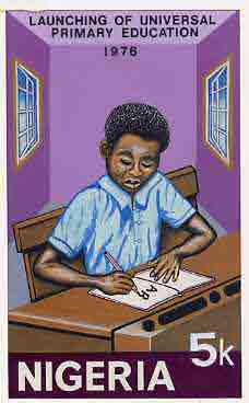 Nigeria 1976 Universal Primary Education - original hand-painted artwork for 5k value showing student writing at desk, by NSP&MCo Staff Artist Samuel A M Eluare, on card ...