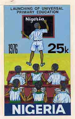 Nigeria 1976 Universal Primary Education - original hand-painted artwork for 25k value showing student writing on blackboard, by NSP&MCo Staff Artist Samuel A M Eluare, o...