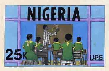 Nigeria 1976 Universal Primary Education - original hand-painted artwork for 25k value showing Teacher writing on Blackboard, by Sylva O Okereke, on card 9.5 x 5.5