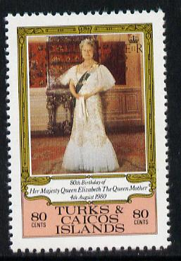 Turks & Caicos Islands 1980 Queen Mother's 80th B'day 80c value unmounted mint (SG 607)