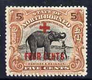 North Borneo 1915 Elephant 5c plus 4c Red Cross surch unmounted mint, SG 239*