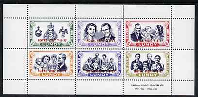 Lundy 1977 Silver Jubilee perf sheetlet containing set of 6 opt