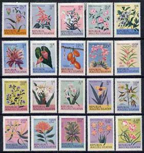Maluku Selatan 1970 Flowers set of 20 values complete*, stamps on flowers     orchids