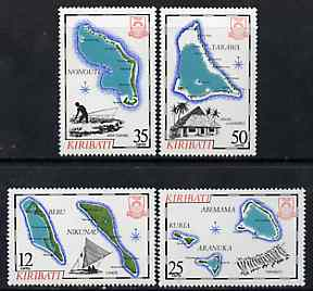 Kiribati 1983 Island Maps #2 set of 4, SG 201-04, (gutter pairs available - price x 2) unmounted mint