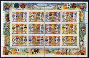 Lesotho 1982 World Cup Football sheetlet containing set of 12 values unmounted mint SG 480a